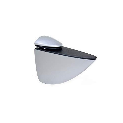 Emuca 4009025 - Lote de 2 soportes mod Pelicano para estante de madera o cristal de espesor 5-40mm acabado pintado aluminio