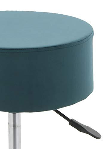 HNNHOME® Taburete giratorio para desayuno, cocina y bar, altura ajustable, taburete de bar y tocador, silla (verde azulado, terciopelo)