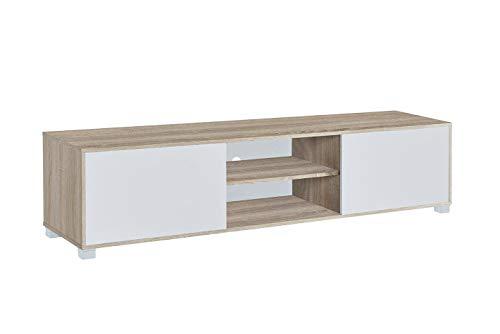 MyosHome - Mueble TV Salon Mesa para TV Color Roble y Blanco 180 x 40 x 41 cm Atenea