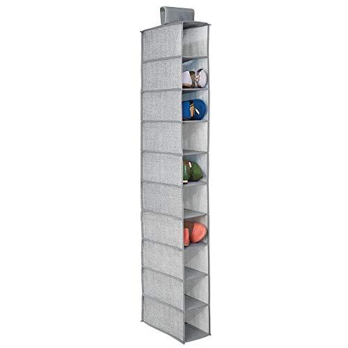 mDesign Juego de 2 muebles zapateros para colgar – Organizador de zapatos para armario con 10 compartimentos - Estanterías para zapatos, bolsos o carteras – Color gris