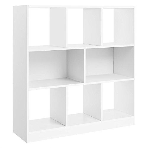 VASAGLE Librería de Madera con Cubos y estantes Abiertos, Estantería para Libros Independiente, para Sala de Estar, Dormitorio, Habitación de niños y Oficina Blanco LBC52WT