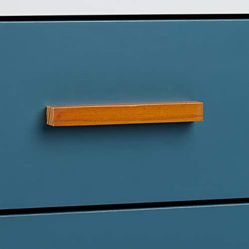 Relaxdays Cómoda, Diseño escandinavo, Dos cajones, Retro, Lacado Mate, Blanco y Turquesa, 58 x 41 x 48 cm, Bambú, 58 X 48 X 41 cm