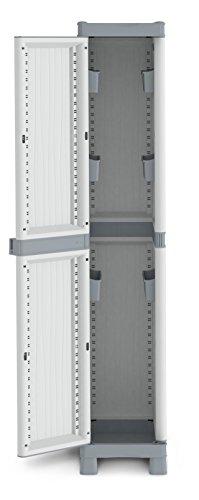 Terry Base 2350 UW Armario 1 6 Bandas de Almacenamiento. Práctica Apertura de Las Puertas hasta 180°, Gris, 35x43,8x181,8 cm