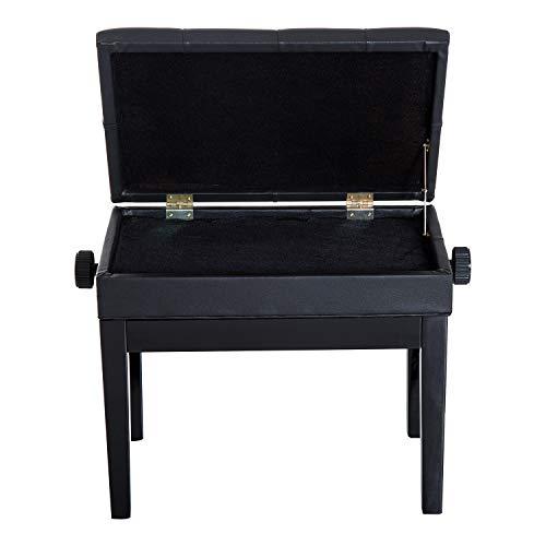 HOMCOM Banco de Piano Taburete Piano con Espacio de Almacenamiento Altura Regulable