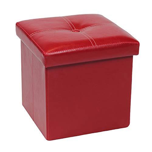 Bonlife Banqueta de Almacenamiento Tapa Abatible Baúl Puff Taburete para Dormitorio y Pasillo,Relleno de Esponja,Rojo, 30 x 30 x 30 cm