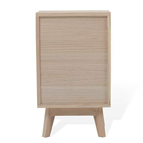 Rebecca Mobili Mesilla de Noche Blanca marrón Claro, 3 cajones, cajonera escandinava, Madera, Cuarto de baño Dormitorio Joven- Medidas: 60 x 35 x 27 cm (AxANxF) - Art. RE6190