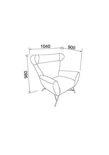 Amazon Brand - Movian Galga - Silla relax, 90 x 105 x 98 cm (largo x ancho x alto), gris (tapizado Rigo)