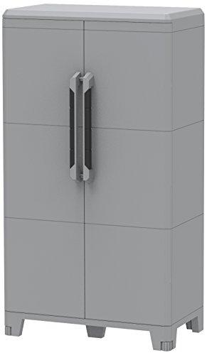 Terry, Transforming Modular 3, Armario Multifunción Alto 2 Puertas, Material Plástico, Dimensiones 78 x 43.6 x 143 cm, Gris/Negro