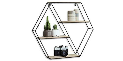 LIFA LIVING Estantería de Pared con 4 estantes, Madera y Hierro, Diseño Vintage Industrial, Forma Hexagonal, para almacenaje de Libros, Fotos, Botellas, y más, 51 x 11 x 58 cm