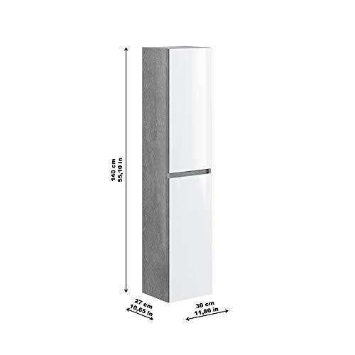 Marca Amazon -Movian Argenton - Columna de baño, 30 x 27 x 140 cm, gris