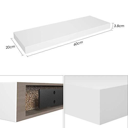 Homfa 2 Estanterías de Pared Estanterías florantes Estantes Colgantes para baño Cocina y Dormitorio Blanco 60x20x3.8cm