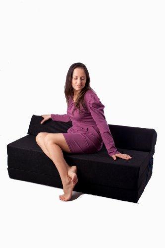 Natalia Spzoo Colchón plegable cama de invitados forma de sillón sofá de espuma 200 x 120 cm (Verde claro 1229)