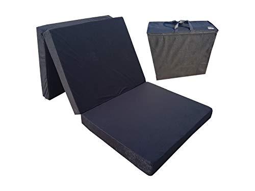 Natalia Spzoo El sillón de colchón Plegable para Invitados 180x80x10 cm con el Bolso (Negro 0001)