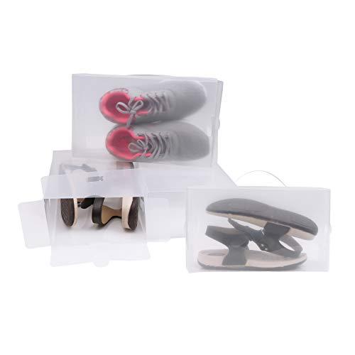 Kurtzy Pack 10 Cajas Guardar Zapatos Plástico Corrugado Transparente Organizador Plegable Zapatos Impermeable Reutilizable - Caben Zapatos Pequeños, Medianos - Ideal para Viajes