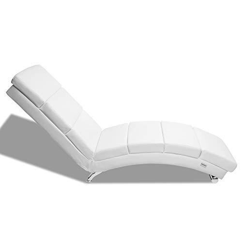 Casaria Diván Chaise Loungue 'London' Blanco sillón Interior Respaldo Alto para salón hogar 186x55cm Capacidad de 180Kg