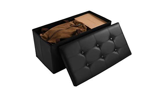 Soontrans Baúl Puff Taburete Almacenaje Plegable Caja Asiento Banqueta de Almacenamiento 76 x 38 x 38 cm máxima de 300 kg (Negro)