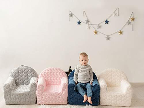 MamaLoes Sillón infantil gris para niños y niñas, muebles de bebé, sofá infantil, acogedor con funda lavable y compartimento de almacenamiento para juguetes