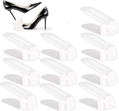 BIGLUFU Organizador de zapatos con ranuras ajustables para ahorrar espacio, color blanco (10 unidades)