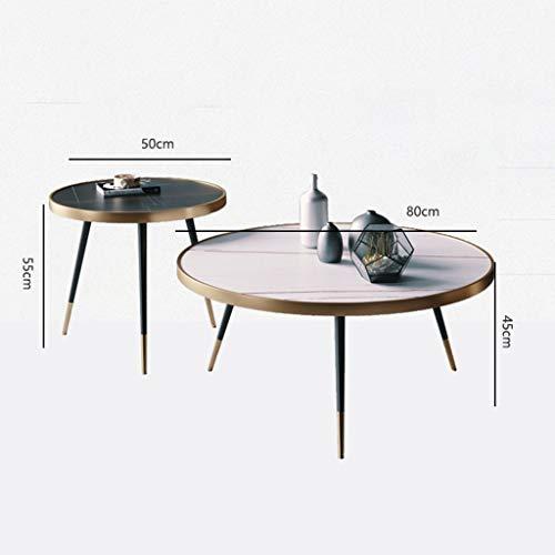 Mesas de centro Mesa de Centro mármol Tablero de Mesa de café de Rock Simple Mesa de café Estilo Creativo Circular apartamento pequeño salón Mesa de café en casa