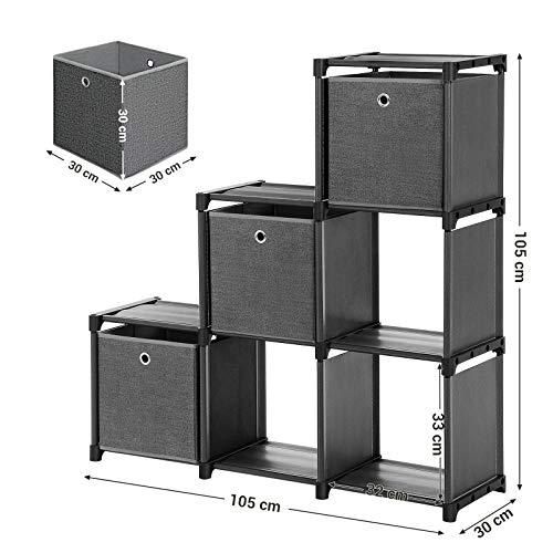 SONGMICS Estantería de Cubos, Librería de 6 Compartimentos, Estantería en Forma de Escalera con 3 Cajas, Montaje en Bricolaje, Marco Metálico, Martillo Suministrado, 105 x 30 x 105 cm, Negro LSN23BK