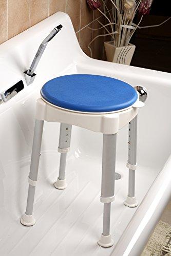AgingCare LOMOS Taburete de baño & Ducha con Superficie de Asiento giratoria, función de Parada y SoftPad (Acolchado Suave)