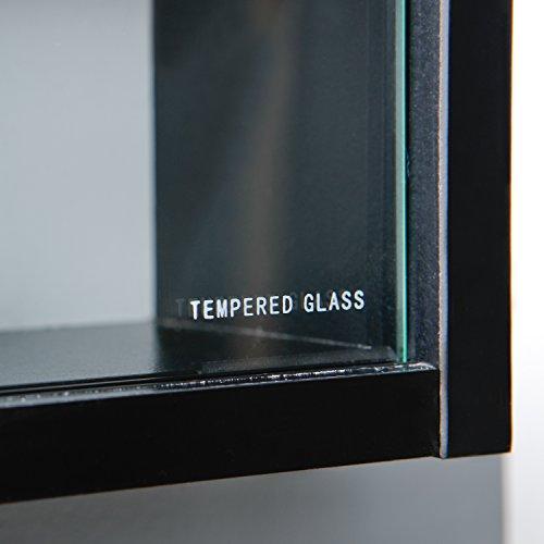 Inter Link Simply Vitrina de madera MDF y vidrio, Negro, 80 x 9.5 x 60 cm