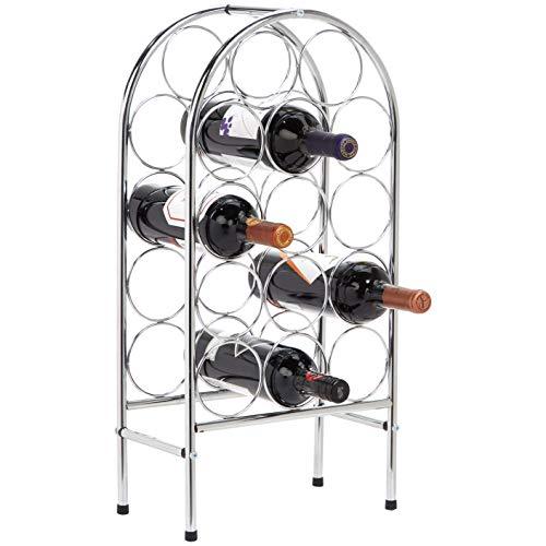 AmazonBasics – Botellero curvado para 14botellas de vino, cromado