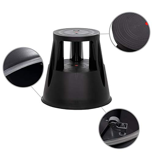 hjh OFFICE 830000 taburete escalera TIO-M I plástico negro taburete con ruedas cocina hogar oficina