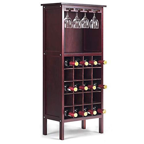 COSTWAY Botellero Vino con Soporte para 20 Botellas Madera Vino Estante Armario con Copa de Vino Colgante (Borgoña)