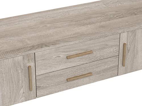 Marca Amazon -Movian Adour Scandinavian - Mueble para TV de 2 puertas con 2 cajones, 40 x 140 x 56 cm (Efecto Roble)