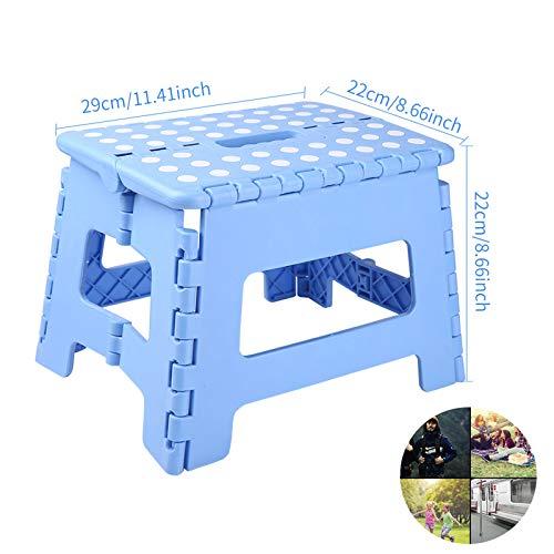 BEYAOBN Taburete Plegable,plástico pequeño, hogar, Cocina y baño Antideslizante Plegable Taburete-máximo 136 kg, 29 x 22 x 22 cm,Azul