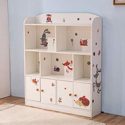 Emall Life Estantería y almacenamiento para niños, organizador de libros y juguetes, estantería para niños y niñas 98 * 24 * 119.5cm (blanco)