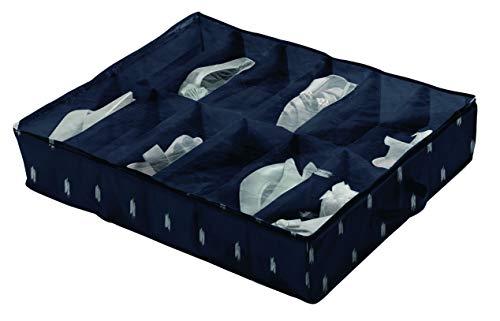 Compactor Bleu Kasuri 12Compartimento Debajo de la Cama Zapatos Bolsa de Almacenamiento, Polipropileno, Azul/Blanco, 76x 60x 15cm, Non-Woven 75G   Printing by Machine, Applicable