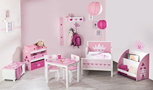 Estanteria organizador roba 'Corona', Juguetero estanteria para habitación de niños, incluye 5 cajas de loneta, decorado con motivos de cuento de adas en rosa