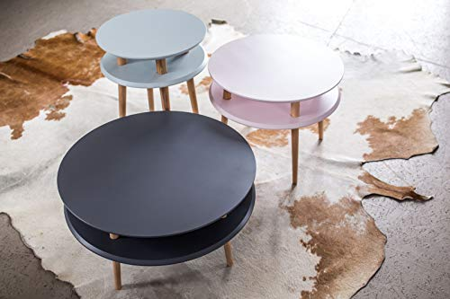 ragaba UFO redonda mesa–Patas de Madera Negra, doble tablero, skandinavisch para salón dormitorio–70x 70x 35cm