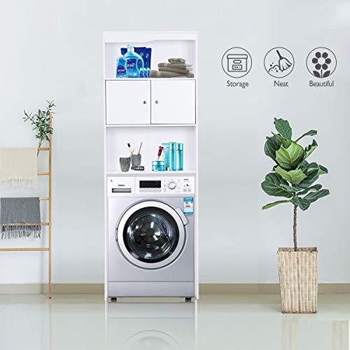 Feenice Armario alto para lavadoras, armario de baño, armario alto, armario para lavadora, armario de baño, armario para montaje de lavadoras