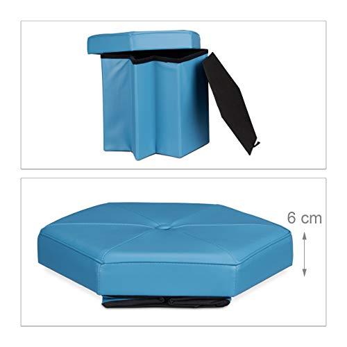 Relaxdays Asiento con Almacenaje Hexagonal, Piel sintética, Azul, 42x42x38 cm
