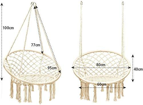 COSTWAY Silla Hamaca Colgante de Algodón y Acero con Borlas Silla Columpio Carga hasta 150KG para Jardín Patio Playa Niño Adulto (Beige)