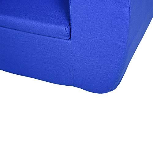 HOMCOM Sillón para Niños Mayores de 12 Meses Sofá Infantil de Bebé con Reposabrazos Cubierta de Algodón Hecho con Esponja 53x35x44,5 cm Azul