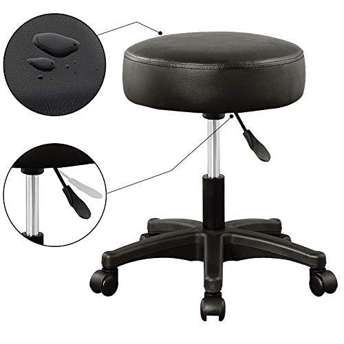 Deuba Taburete giratorio silla de trabajo 52 x 52 cm Altura regulable 42-56 cm cuero artificial azul asiento acolchado