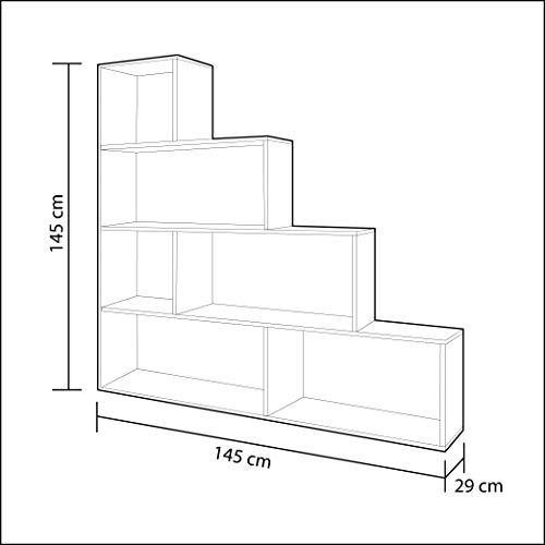 Habitdesign Estantería Decorativa, Librería Salon, Modelo Klum, Acabado en Blanco Brillo, Medidas: 145 cm (Alto) x 145 cm (Ancho) x 29 cm (Fondo)