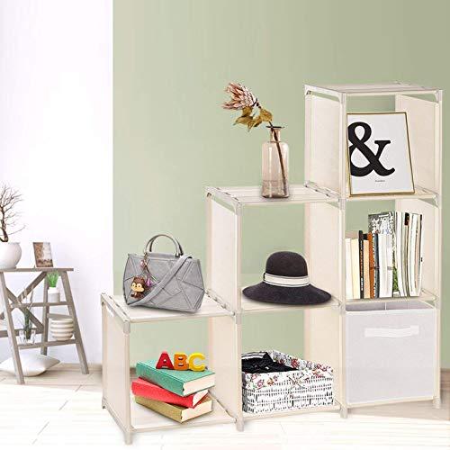 Umi. Essentials Estantería modular de 6 compartimientos de tela, organizadores de cubos de 3 niveles, ajustable, beige