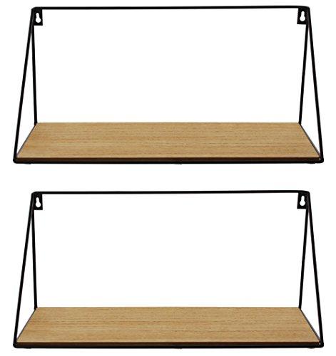 Frank Flechtwaren Serie de 2 estantes de pared, diseño simple y moderno, metal lacado negro mate, tabla de madera con grano natural