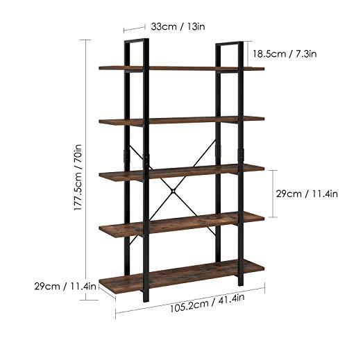 Homfa Estantería de Pie Estantería Escalera con 5 estantes Estantería Metálica con Madera para Salón Baño Terraza Vintage y Negro