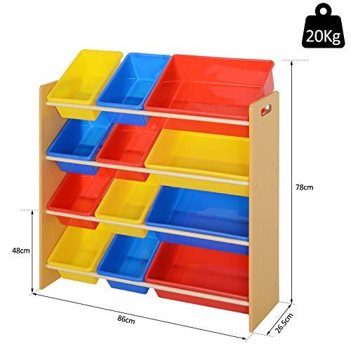 HOMCOM Estantería Organizador para Juguetes Libros Estante de Almacenamiento Habitación Infantil de 3 Niveles 12 Cajas 86x26.5x78cm