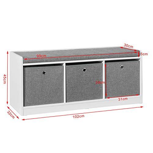 SoBuy FSR65-DG Zapatero Banco con Tres cajones,L102 x P32 x H45 cm,ES (Zapatero)