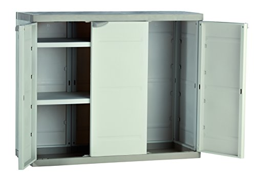 Plastiken Medio Armario TITANIUM 105cm 3 Puertas con (2 puertas con 2 ESTANTES y la tercera puerta sin baldas) Color BEIG (105cm de ancho x 44 cm de hondo x 88cm de Alto)