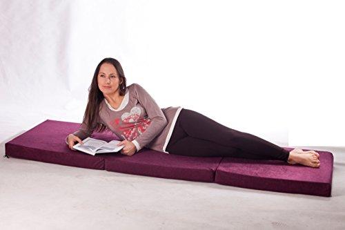 Natalia Spzoo Cama de invitados, colchón plegable 195 x 65 x 10 cm cubierta de 100% algodón (007)