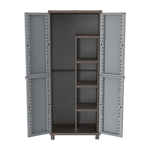 Terry Jwood 368 Armario 2 Puertas con una estanteria Interna con 4 fijos. Capacidad máxima del Estante: 10 kg distribuidos de Forma Uniforme, Gris, 68x37,5x170 cm