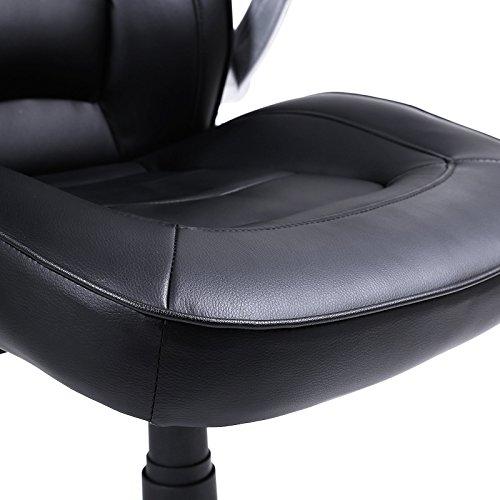 Songmics OBG62B Racing - Silla Giratoria de Oficina, Recubrimiento de PU, Reposabrazos Ajustable, color Negro